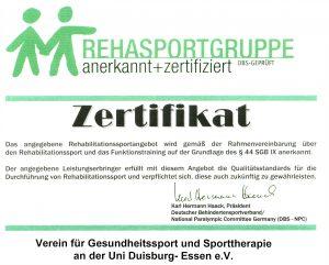 Zertifikat RehaSport VGSU
